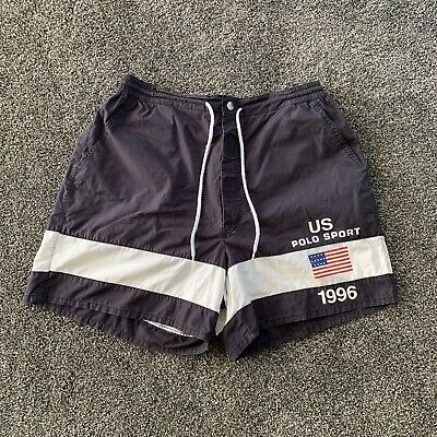 Vintage 1996 Polo Sport Flag Swim Trunks Mens Size Large Ralph Lauren