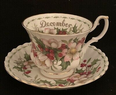 Royal Albert Bone China Flower of the Month December Christmas Rose Cup & Saucer