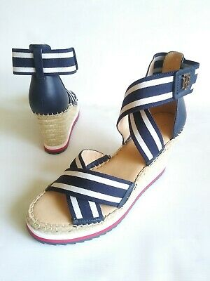 446eef620 New TOMMY HILFIGER Strappy Espadrille Wedge Sandal Navy-White Stripe Women  6.5