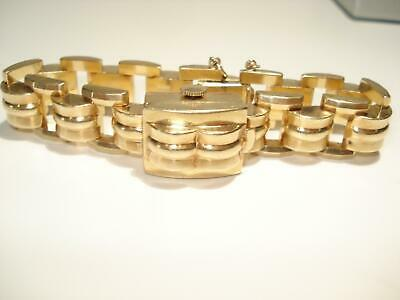 14Kt Gold Flip Top Hidden Watch Bracelet Vintage Mechanical Ladies Wristwatch