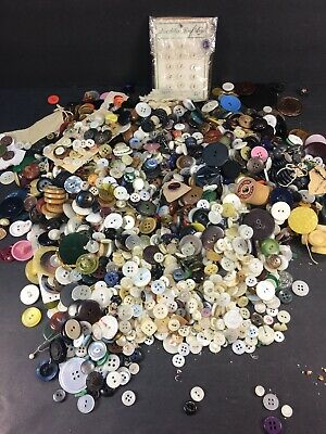 INCREDIBLE MIX 4LB MIXED LOT of OLD-VINTAGE & NEW Buttons ALL TYPES & SIZES