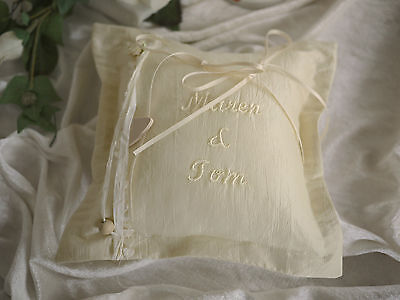 Romantic Ringpillow Taffeta Champagne Embroidered with Desired Name Handmade