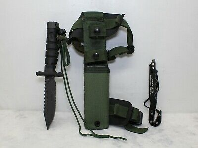 Ontario ASEK Military Fixed Blade Survival Knife USA W/ Strap Cutter & Sheath