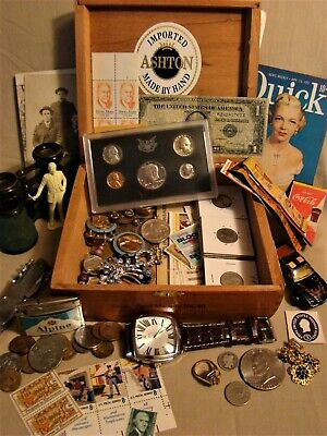 JUNK DRAWER Tobacciana U.S.Mint Proof Coins Military 90% SILVER Stamps Jewelry++