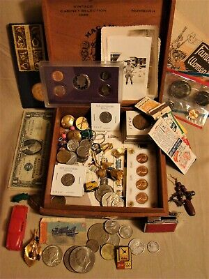 Junk Drawer 90% Silver Jewelry Military Stamps Proof Coins Tobacciana Lighter+++