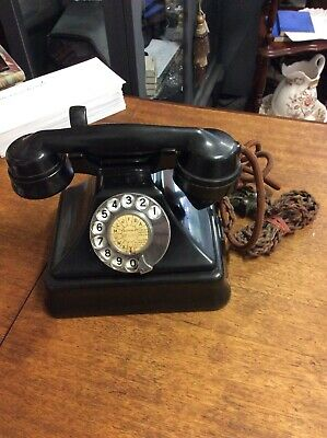 Gorgeous Vintage Art Deco 'Pyramid' Black Bakelite Telephone - Can Be Converted