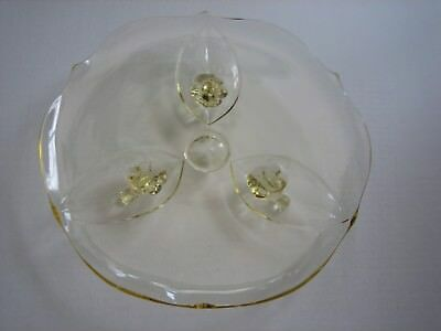 """Vintage Depression Yellow Glass 10"""" Dessert Plate Cake Stand Lancaster 3 Footed"""