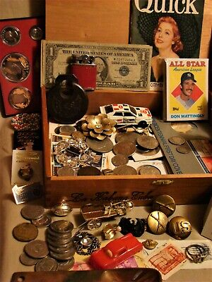Junk Drawer Lot Mint Proof Coins Jewelry Military Rare Baseball Card Stamps Toys