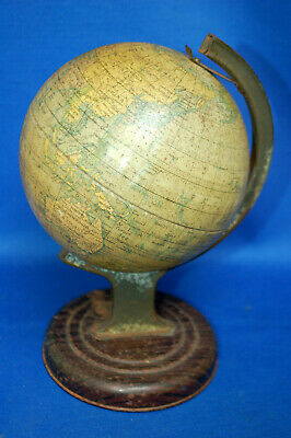 A very characterful vintage tin globe, printed, Chad Valley, as found condition