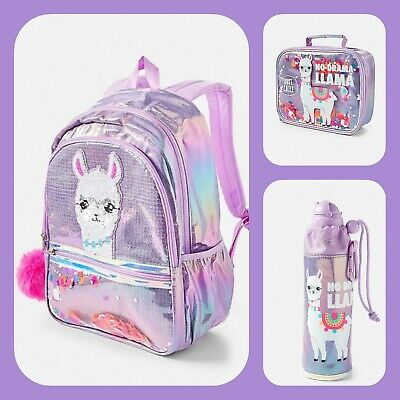 6f8ec37785e6 JUSTICE GIRLS NO Drama llama Sequin Shaky Backpack Lunch Bag Water Bottle  NEW