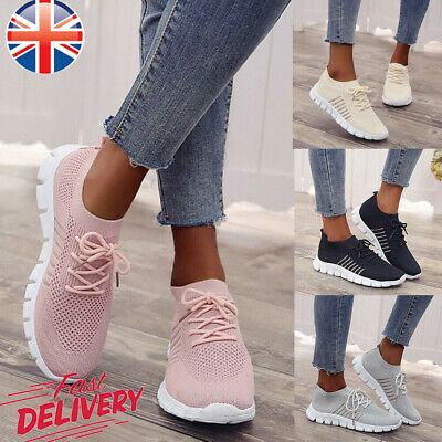 Sports Women Breathable Trainers Running Sneakers Lace Up Ladies Mesh Gym Shoes