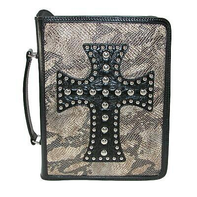 New 3 D Belt Company Metallic Snake Print Bible Cover with Leather Cross
