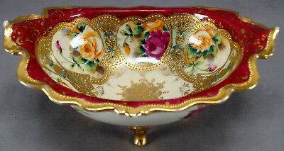 Nippon Pink & Orange Rose Maroon & Gold Moriage Footed Bowl Circa 1891 - 1921