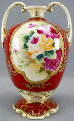 Nippon Hand Painted Pink Yellow Rose Red & Gold Floral Moriage Vase 1891 - 1921