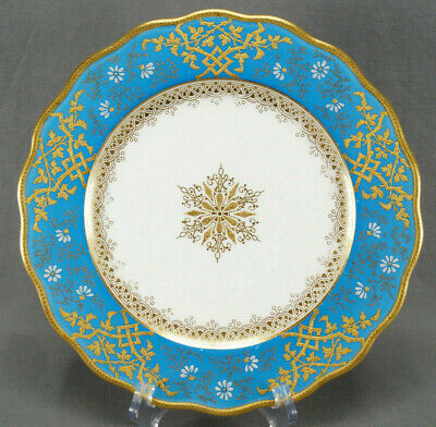 Brown Westhead Moore Enameled White Floral Raised Gold & Turquoise Dinner Plate