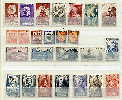 France timbres ANNEE COMPLETE 1946 (24 timbres) + timbre 746 de 1945 **