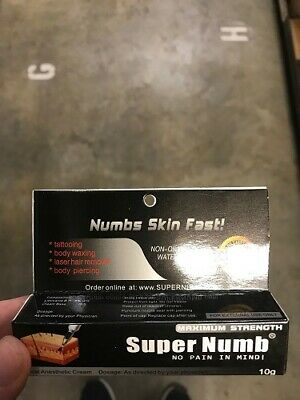 Super Numb Numbing Cream Anesthetic Tattoo Piercings Waxing, 10g Exp. 12/21