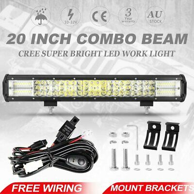 20 inch Tri-row CREE LED Work Driving Light Bar Spot Flood Offroad 4WD + Wiring