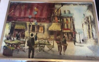 Vintage Original Framed Signed  Street Scene Oil Painting Approx 31ins X 21ins.