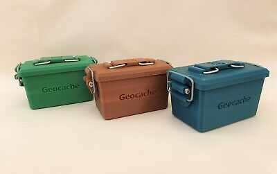 Mini Ammo Can Geocache Container 3 Colours Ready To Place *Can Be Personalised*