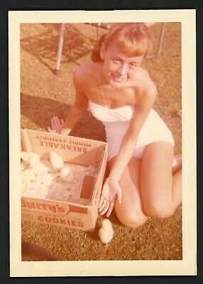 Smiling Sexy Woman Swimsuit Vintage Photo Snapshot 1950s Chicks Summer Legs