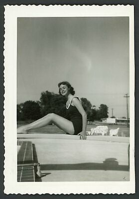 Pretty Smiling Woman Swimsuit Pool Vintage Snapshot Photo 1950s Legs Summer