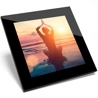 1 x Beach Sunset Yoga Pose Glass Coaster - Kitchen Student Gift #14531