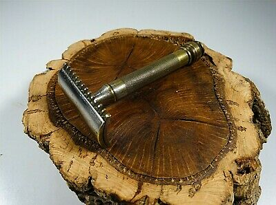 Vintage Antique Gillette Double Edge Brass Safety Razor Made In Usa