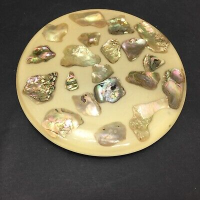 Vintage MCM Round Trivet Abalone Pieces Ecru Base and Lucite