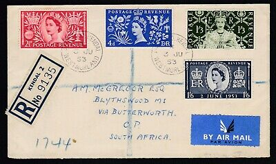 GB UK  FDC 1953 QE2 Coronation Set on Registered Cover to South Africa Kendal 2