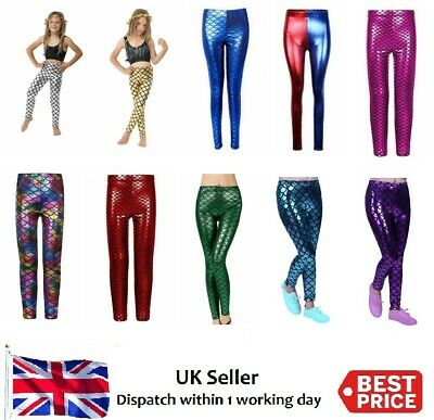 Girls Kids Mermaid Fish Scale Metallic Geometric Stretch Leggings Pants 3-12Year