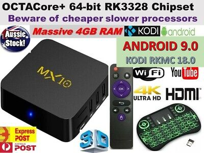 *2019* MX10 Android 9 Wifi  4GB RAM TV BOX KODI 18.0 OCTA Core Media Player AUS