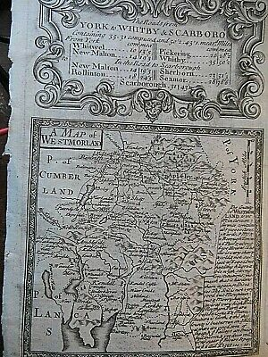 Westmorland C1715: Ancient Sheet Of Travel Maps: Also York Pickering-Whitby Road