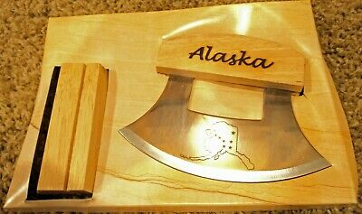 Alaska Ulu Knife Cutlery 5 1/4 inch etched Blade with stand NEW in open Package
