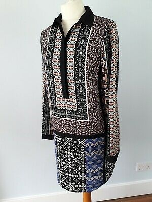 Warehouse Size 8 Black Blue Multicoloured Long Sleeve Tunic Dress Buttons