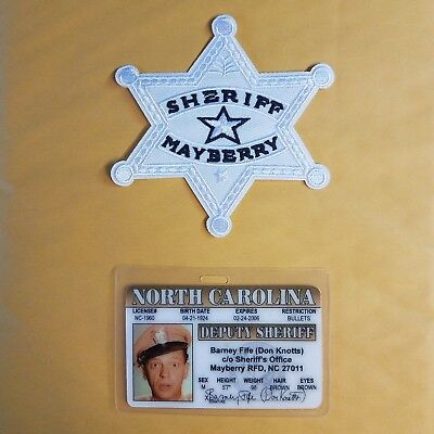 Mayberry ID Badge - Deputy Sheriff Barney Fife and patch Cosplay Costume Prop
