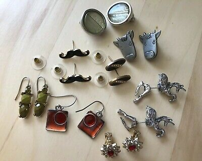 Job Lot 8 Pairs Earrings Pierced and Clip on