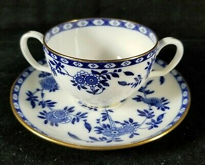 Antique 1873 To 1912 English Blue & White Minton Bouillon Cup & Saucer Set VFINE