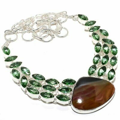 """Bloodstone With Green Amethyst Gemstone Handmade Silver Plated Necklace 18"""""""