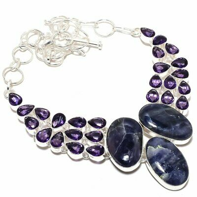 """Sodalite And Amethyst Gemstone Handmade Silver Plated Necklace Jewelry 18"""""""