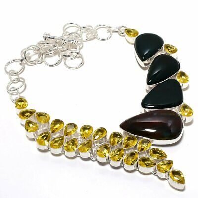 """Bloodstone with Citrine Gemstone Handmade Silver Plated Necklace 18"""""""