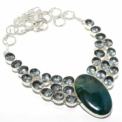 """Moss Agate And White Topaz Gemstone Handamde Silver Plated Necklace Jewelry 18"""""""