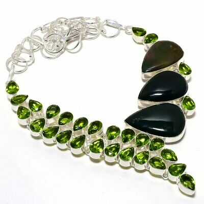 """Bloodstone With Peridot Gemstone Vintage Handmade Silver Plated Necklace 18"""""""