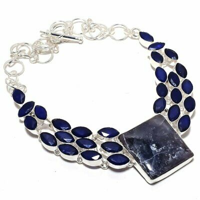 """Sodalite with Sapphire Gemstone Handmade Silver Plated Necklace 18"""""""