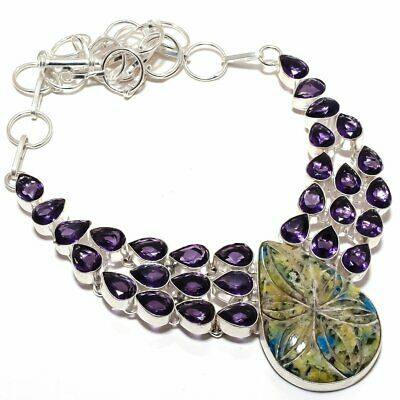 """Carved K2 Azurite And Amethyst Gemstone Handmade Silver Plated Necklace 18"""""""