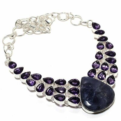 """Sodalite With Amethyst Gemstone Handmade Jewelry Silver plated Necklace 18"""""""