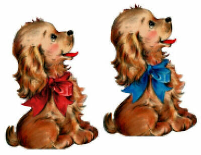 Vintage Image Retro Dogs Puppies With Blue Red Bow Waterslide Decals AN808