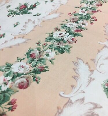 Vintage Rose Fabric Red Rose Buds Coral Peach Stripe Rococo Original 1950s Panel