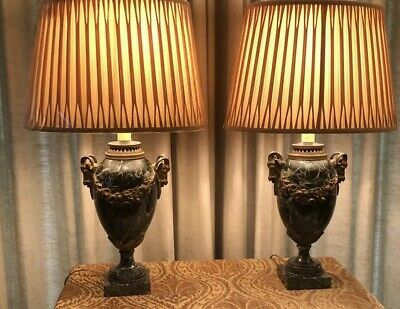 Antique Pair Of  Neoclassical Marble/Bronze Rams Head Lamps