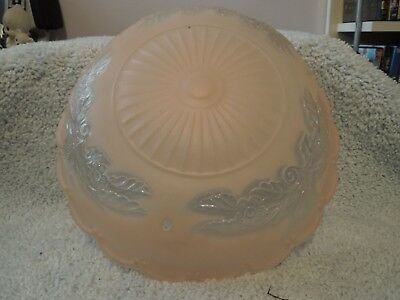 """Vintage CEILING Art Deco glass SHADE 3 hole chain 10 1/2"""" Frosted Pink and clear"""